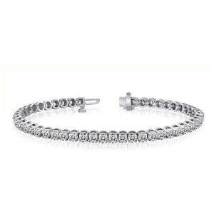 3 CARATS white diamond round cut bracelet white go